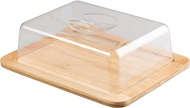 Jonas Quesera Rectangular con Tapa Plexiglass – Caja Queso Madera de Bambú – Ideal para Conservar Frescos tus Quesos -Dimensiones 26 X 20 X 7,3 cm – Garantía de Calidad
