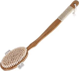 ボディブラシ お風呂用 天然馬毛体洗いブラシ 竹製長柄 血行促進 角質除去 毛穴洗浄 バス用品 SPAバスブラシ