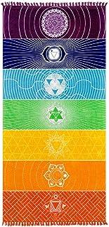 Rubik Thick Square Bohemia Mandala Yoga Blanket Polyester 7 Chakra Yoga Towel Tassels Rainbow Tapestry Stripes Beach Towel...