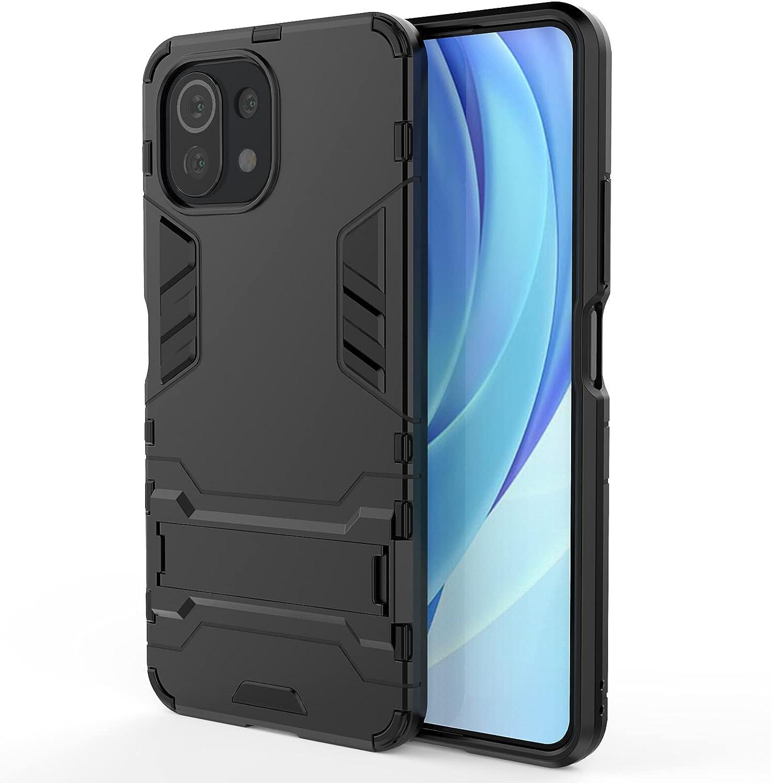 MPD Funda para móvil Xiaomi Mi 11 Lite / Mi 11 Lite 5G con Soporte Carcasa Híbrida Antigolpes Resistente Rígida Dura Armadura Reforzada Case Cover [Absorción de Golpes] (Xiaomi Mi 11 Lite, Negro)