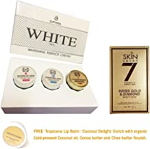 SET WHITE ESSENCE CREAM + SWISS GOLD DIAMOND SOAP WHITENING BRIGHTENING AURA SKIN DAY CREAM + NIGHT CREAM + UV SILICONE 3 IN 1 ANTI AGING FIRMING [GET FREE TOMATO FACIAL MASK]