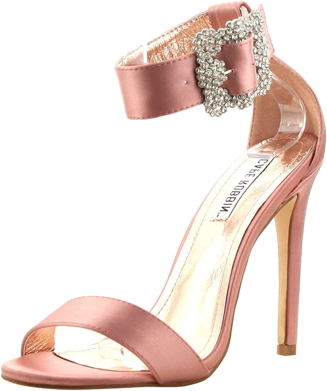 CAPE ROBBIN Womens Open Toe Jeweled Rhinestone Buckle Ankle Strap Party Dress Stiletto High Heel Sandals shoes