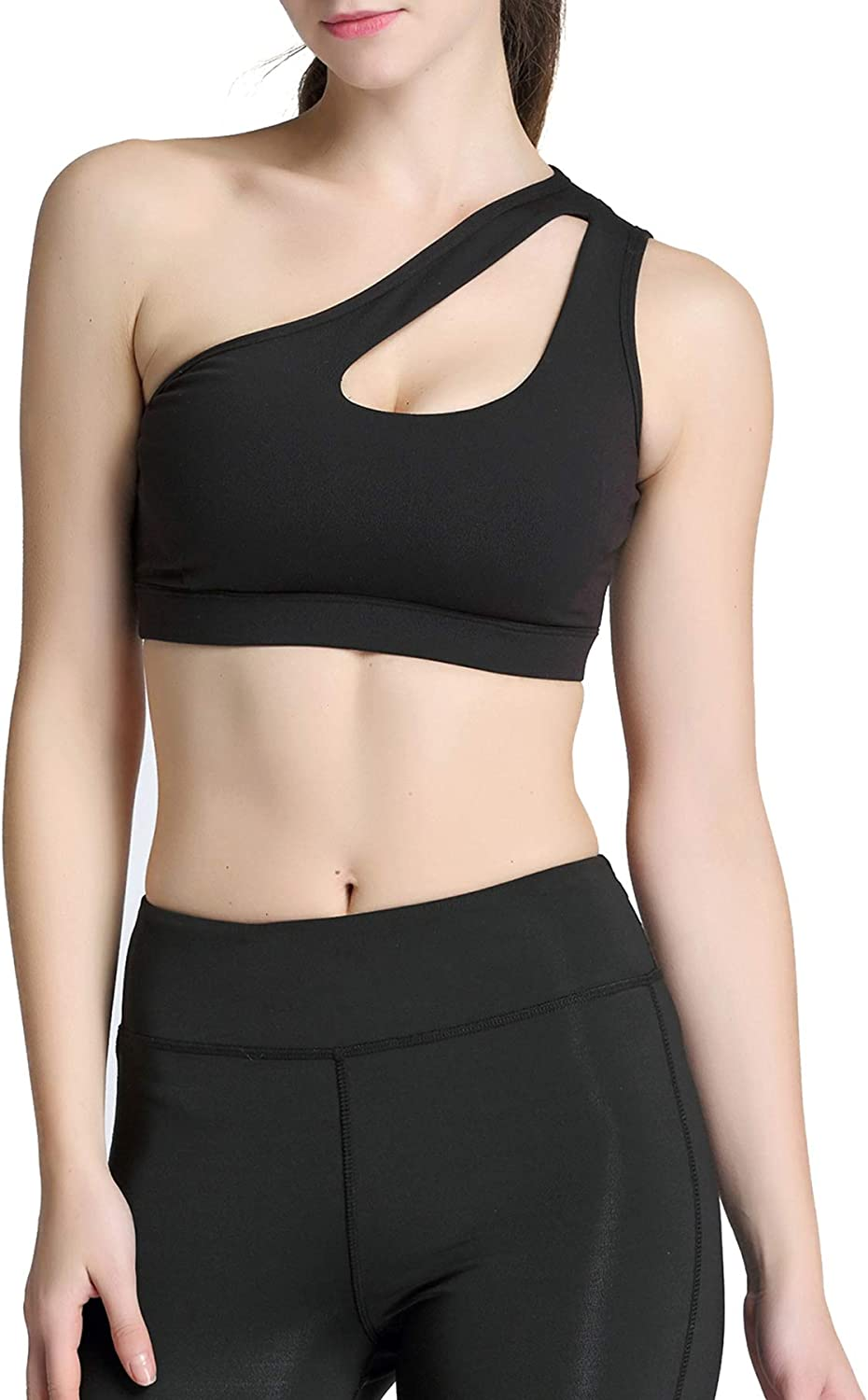 Zando Women's Sports Bras One Shoulder Sports Bra Women Workout Running Yoga Fitness Tops High Impact Padded Sports Bras for Women Pack with Removable Cups Seamless Bra Dull Black Medium