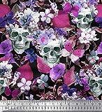 Soimoi Rosa Samt Stoff Totenkopf & Anemone Blume Gedruckt