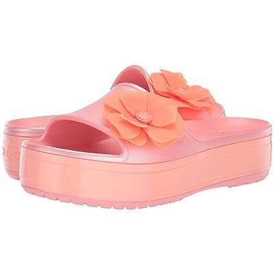 Crocs Crocband Platform Vivid Blooms Slide (Melon) Slide Shoes