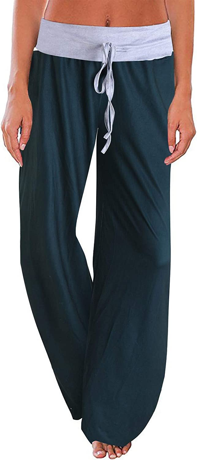 Women's Wide Leg Pants, Elastic Waistband Casual Loose Trouser, High Waisted Stretchy Lounge Long Pants