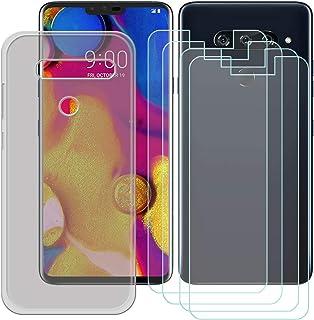 YZKJ Fodral för LG V40 ThinQ Cover grå silikon skyddsfodral TPU skal skal skal 4 stycken pansarglas skärmskydd för LG V40 ...