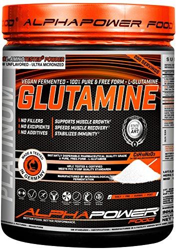 ALPHAPOWER FOOD bioaktives Glutamin Pulver - Vegan, Neutral und ohne Geschmack I 100{70f773e35ab9677ea98793042a16c2ef8879857b729aeb7fb7833a6818c8ebc4} micronized, hochdosiert und rein, Laborgeprüfte Aminosäuren, 1kg für 200 Anwendungen