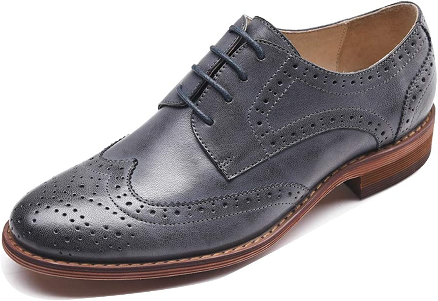 LIURUIJIA Leather Perforated Lace-up Oxfords shoes Vintage Oxford shoes Brogues YMNJX1-21025-01