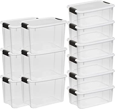 STERILITE 30 Qt and 18 Qt Ultra Clear Plastic Stackable Storage Tote Container Box (12 Pack)