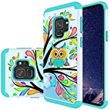 Galaxy S9 Case, MAIKEZI Hybrid Dual Layer TPU Plastic Armor Defender Phone Case Cover for Samsung Galaxy S9, Shock Absorption, Drop Protection (Armor Green Owl)