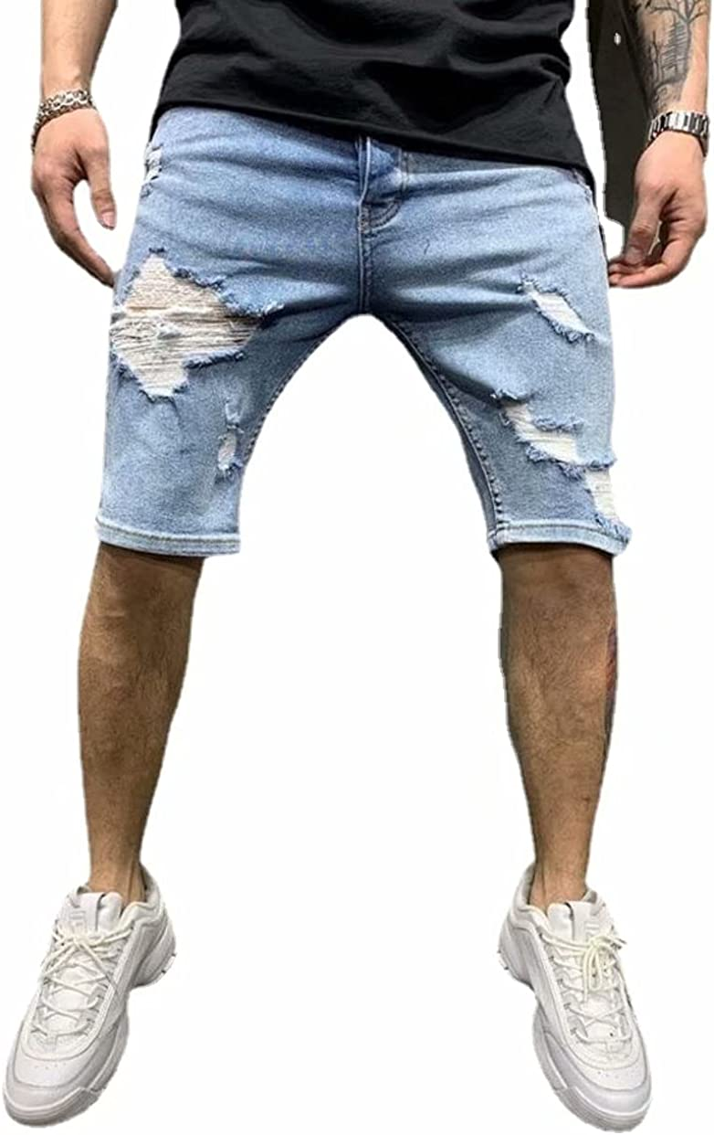 Alilyol Men's Ripped Hole Casual Jean Shorts Fashion Distressed Solid Color Denim Shorts Blue
