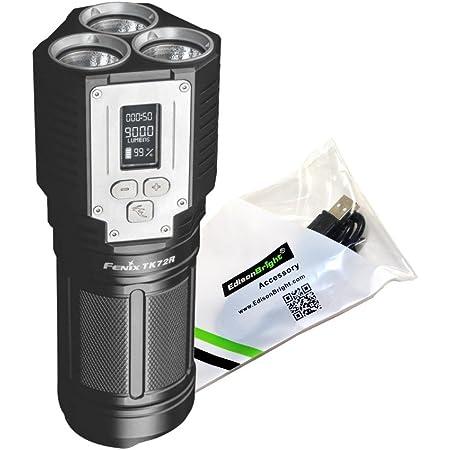 FENIX TK72R 9000 Lumen rechargeable digital display LED Flashlight/searchlight/powerbank with EdisonBright USB charging cable bundle