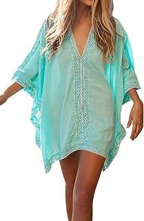 تنورة نسائية مثيرة من الحرير الصناعي الأخضر بأكمام مرفرفة لتغطية ملابس السباحة للشاطئ، فستان شاطئ فني مقاس واحد