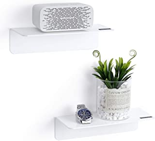 OAPRIRE White Floating Wall Shelves Set of 2, Stick-On Damage-Free Expand Wall Space, small wall shelf unit for Kitchen, B...