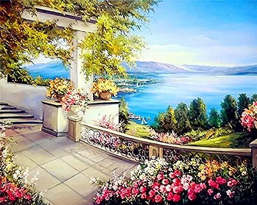 5D DIY Diamond Painting Full Round Landscape Window Diamond Embroidery Cross Stitch Sea Mosaic Home Decor A3 30x40cm