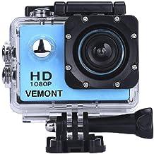 YMHX Vemont Cámara Deportiva 1080P HD Impermeable 30M Pantalla de 2.0 Lente de Gran Angular de 120 Grados Multiples Accesorios para Deportes y Actividades, Buceo, Nadar, Correr, Ciclismo, etc.