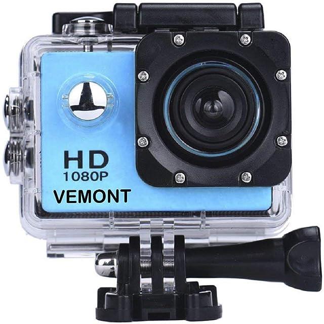 VEMONT Cámara Deportiva 1080P HD Impermeable 30M Pantalla de 2.0 Lente de Gran Angular de 120 Grados Multiples Accesorios para Deportes y Actividades Buceo Nadar Correr Ciclismo etc.