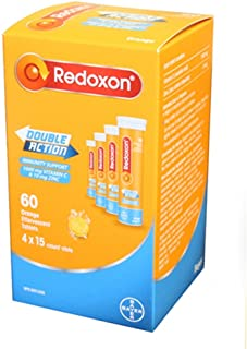Redoxon Double Action Orange Effervescent Tablets, 1000mg Vitamin C & 10mg Zinc, 4x15 vials