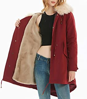 ADM6 Women's Hooded Jacket, Warm Winter Quilted Lined Down Coat with Fur Hood, Medium Style Parka with 100% Faux Fur Puffer Jacket