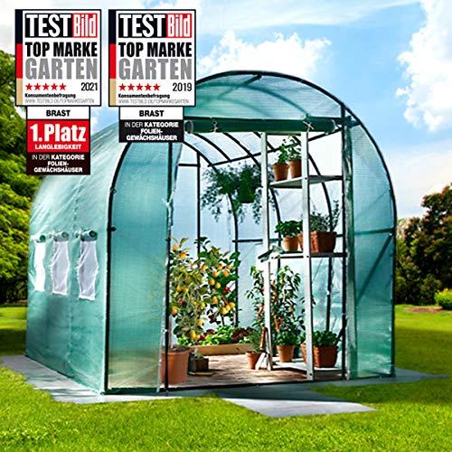 BRAST Serre de Jardin 6m2 (3x2) extrêmement stable : Tubes d'acier galvanisés et Film spéciale de protection grillagé 175 g m2, aération optimale, montage rapide