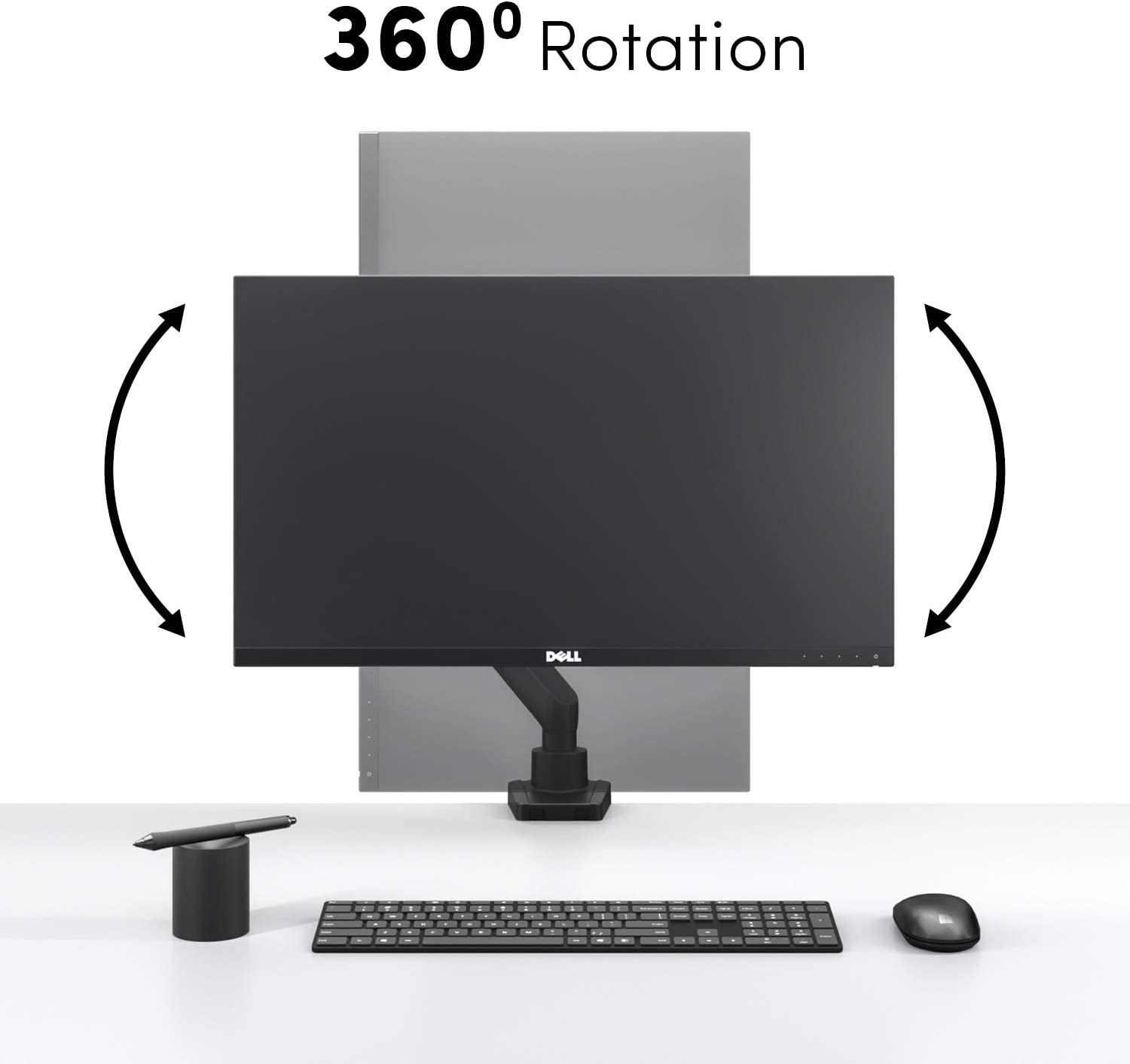 """EVEO Single Monitor Arm Desk Mount - Adjustable Desk Monitor Mount - Full Swivel Dual Monitor Mount for 17"""" to 32"""" Computer Monitor VESA Compatible Screens (2 to 7Kg) (4.4-15.4lbs)"""
