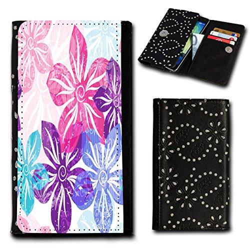 Strass Book Style Flip Handy Tasche Case Schutz Hülle Foto Schale Motiv Etui für Alcatel One Touch Idol 2S Mini - Flip SU1 Design7