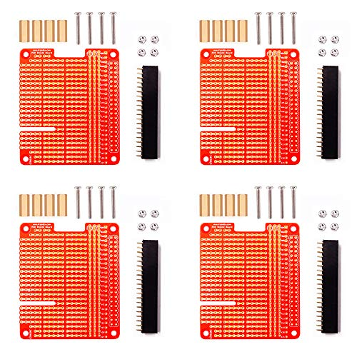 Treedix 4 x GPIO Breakout DIY Breadboard PCB Shield Red Expansion Board Kit kompatibel mit Raspberry Pi 4 3 2 B + A+
