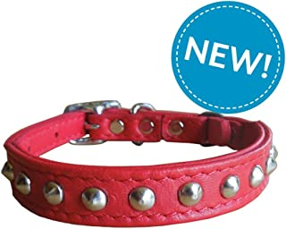 Kitty Planet Outlaw Red Studded Leather Safety Cat Collar