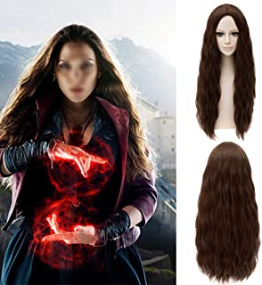 HOOLAZA Brown Long Slight Curly Wavy Wig Avengers Age of Ultron Scarlet Witch Wanda Django Maximoff Cosplay Wig