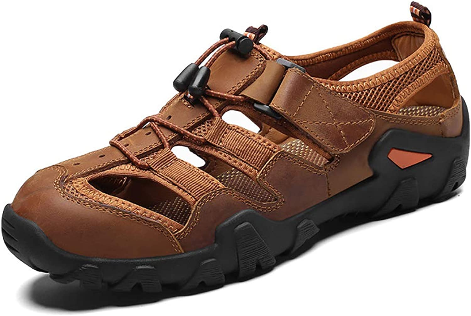 FHTDN Sports Athletic Sandals Men Closed Toe Summer Sports Casual Fisherman Leather Beach shoes Hiking Outdoor Anti Collision