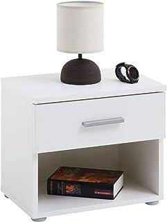 IDIMEX Table de Chevet MAEL, Table de Nuit casier avec 1 tiroir et 1 Niche, en mélaminé Blanc Mat