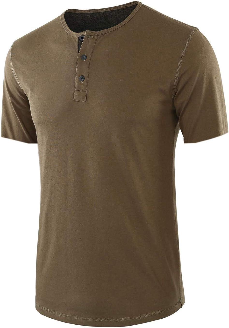 chouyatou Men's Summer Crewneck Button Placket Short Sleeve Cotton Henley T-Shirt