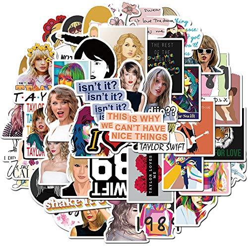 LSPLSP Taylor Alison Swift Pegatinas impermeables Pvc Equipaje Monopatín Guitarra Papelería Graffiti Cantante Pegatinas Niños Juguetes 50 Piezas