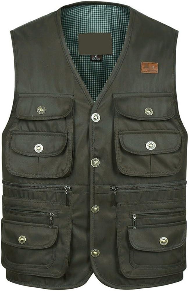 Yimoon Men's Outdoors Versatile Multiple Pockets Journalist Fishing Vest