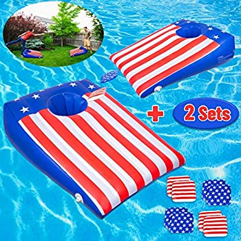 ROYPOUTA Pool Games Pool Cornhole Inflatable 2 Sets Pool Toys for Kids Teens Adults and Family with 8 Floating Bean Bags