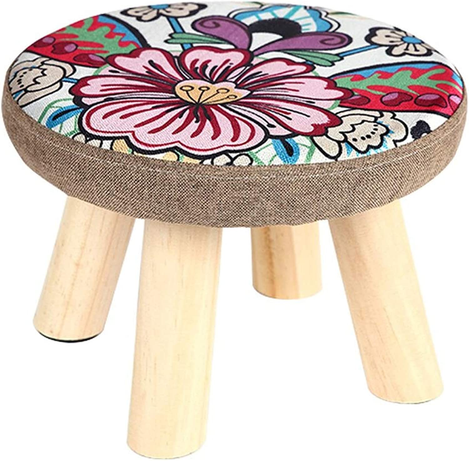Small Stool-Solid Wood Stool Sofa Stool Creative shoes Bench Fabric Small Bench Stool Fashion Chair Home