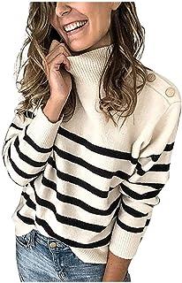 catmoew Suéter Elegante Cuello Alto para Mujer Basic Jerséy Clásico Pullover de Punto Manga Larga para Otoño Invierno Jers...