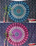 Set of 2 Boho Wall Tapestry or Bohemian Mandala Tapestry Wall Hanging, Hippie Indian Beach Blanket or Mandala Tablecloth, Large Yoga Mat for Meditation - Twin Size, 55x85, Blue and Pink