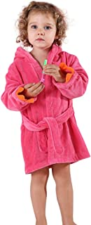 MICHLEY Girls Boys Robe Cotton Towel Kids Animal Dinosaur Style Hooded Bathrobe