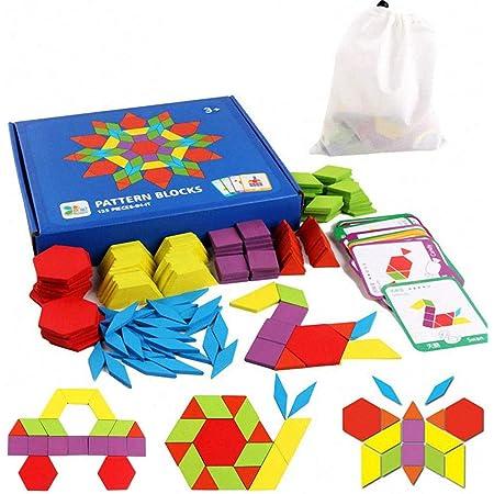 EACHHAHA Puzzle en Bois-Tangram-Jouets Montessori-Jouets éducatifs classiques-155 Formes géométriques et 24 Cartes de Conception pour Enfants adaptées aux Enfants de 3 4 5 6 7 Ans