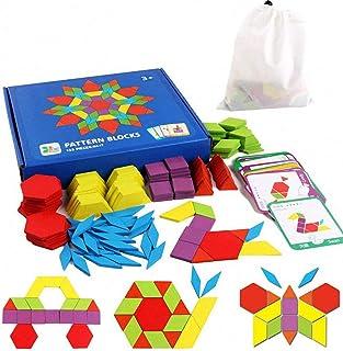 iLink Puzzle en Bois-Tangram-Jouets Montessori-Jouets éducatifs classiques-155 Formes géométriques et 24 Cartes de Concept...