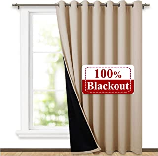 NICETOWN Thermal Insulated 100% Blackout Curtains, Noise Reducing Performance Slider Curtain Panel with Black Lining, Full Light Blocking Patio Door Drapery (1 PC, 100-inch x 84-inch, Biscotti Beige)
