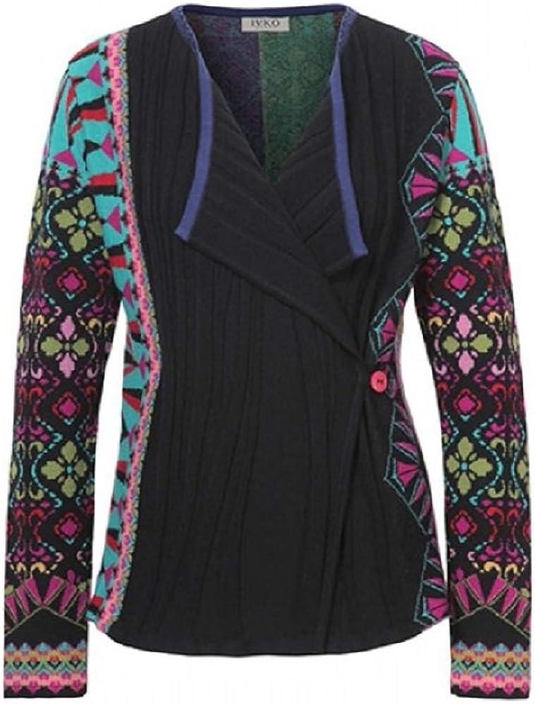 IVKO Open Collar Cardigan Geometric Pattern, Black