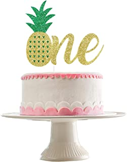 Gold Glittery Pineapple One Cake Topper for 1st Birthday Party Decorations,Birthday Cake Decor