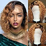 Ombre Short Curly Bob 1B/27 Blonde Color Human Hair Wigs Brazilian Remy 130% Density Hair Bleached Knots (10', full lace wig)