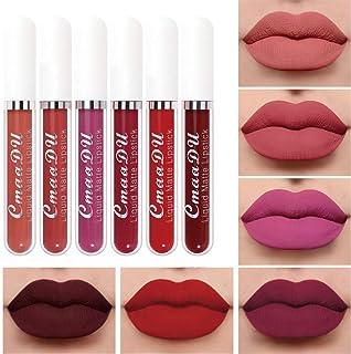 6Pcs Matte liquid lipstick Set,Dark Red Matte Lipstick Lip Stain Long Lasting 24 Waterproof Lip Gloss Gift Set ,Lipstick Sets for Women Lippies Lip Matte Makeup Lipgloss Beauty Cosmetics Kit03