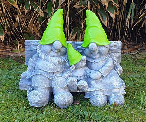 Fachhandel Plus Wichtel auf Gartenbank Dekofigur Wichtelfamilie lustige Gartendeko GNOME Zwerge Gartenfigur Wichtelparade