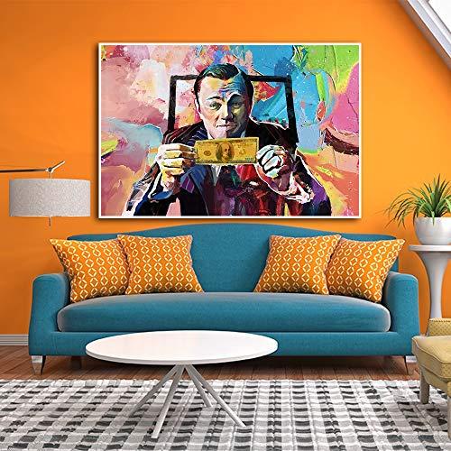 MXLF Lienzo Pintura Arte de la Pintada Grande de la película de Pintura El Lobo de Wall Street Leonardo Dicaprio Poster impresión del Arte de Pared Sala de Estar Decoración Pinturas