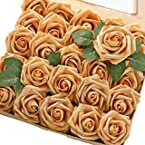 Floroom Artificial Flowers 25pcs Real Looking Gold Fake Roses with Stems for DIY Wedding Bouquets Bridal Shower Centerpieces Party Decorations